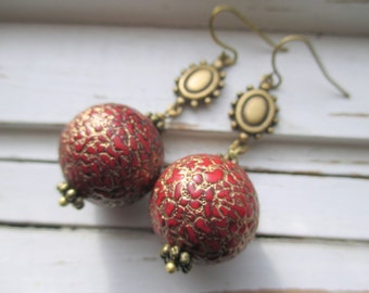 Venetian dangle earrings, rich red and gold beaded earrings, vintage Lucite beads