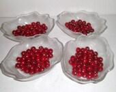 Vintage Oak Leaf Bowls - Set of 4 glass Dessert Dishes - Large Dessert Bowls - Ice Cream Bowls - Fancy Dessert Bowls
