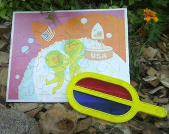 Vintage Magic Viewer Puzzle - Children's Frame Tray Puzzle - 1969 With Magic Viewer Wand - Western Publishing - Childrens Puzzle