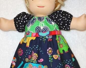 "14 15 16 inch Waldorf doll clothes, 18"" girl doll dress, peasant doll dress, 15 inch baby doll clothes, elephant navy green m2m Matilda Jane"
