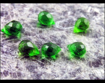 Green Faceted Glass Briolettes - OE126