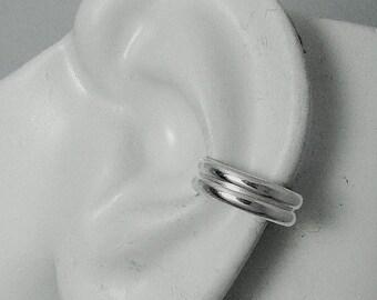 Ear Cuff, Silver Ear cuff, Non-pierced,Cartilage Wrap,Earring Fake Conch,No Piercing, Cuff Earring, Faux Pierced Hoop Double Half Round E8SS