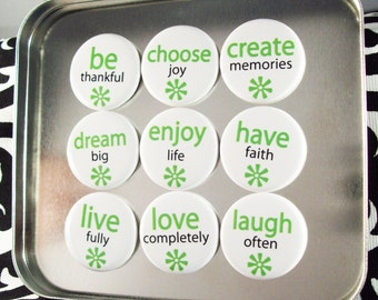 "Two Word Wisdom Magnet Gift Set with Tin - Set of 9 - 1.25 inch 1-1/4"" Magnets"