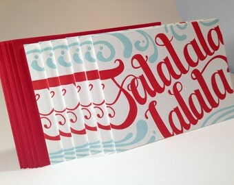 30 pack Falalalala Hand Crafted letterpress cards- Blue and Red