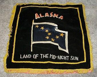 Vintage--ALASKA--Satin And Velveteen--Pillow COVER--From ALASKA--Land of the Midnight Sun--Souvenir