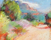 "Southwest Painting - ORIGINAL Oil Pastel Painting  5 x 6.5, ""Sedona Trail"" by Bethany Bryant"