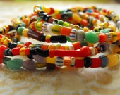 Africa -  Ghana trade beads - set of seven stretch bracelets- simple, colorful stack - small  Christmas beads