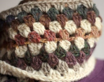 Granny Stripe scarf, winter scarf, wool, natural colors