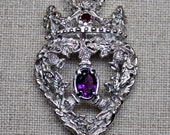 Sterling silver amethyst and ruby Scottish lockenbooth pendandt