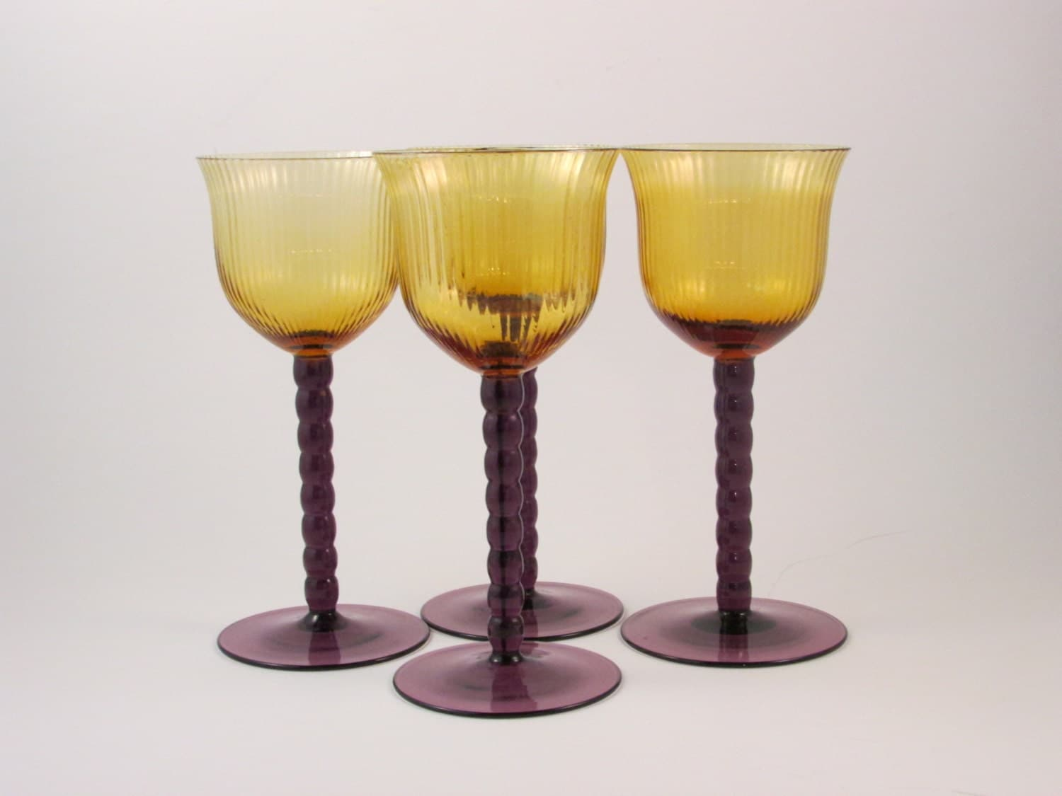 Vintage Long Stem Wine Glasses Amber Glass With Purple Stems
