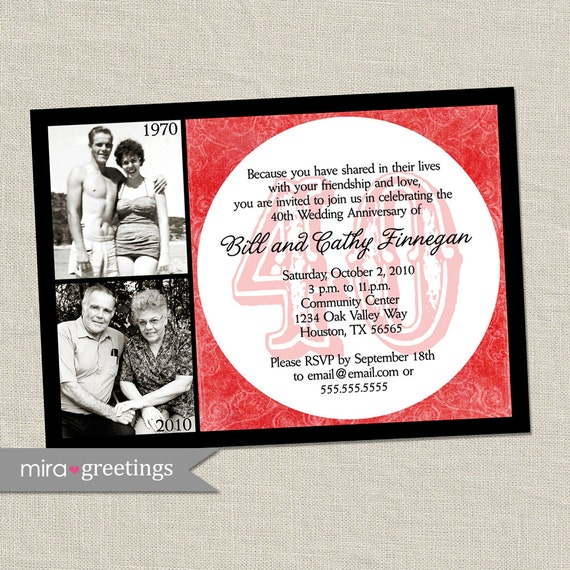 40th anniversary invitation ruby red wedding anniversary for 40th wedding anniversary decoration ideas