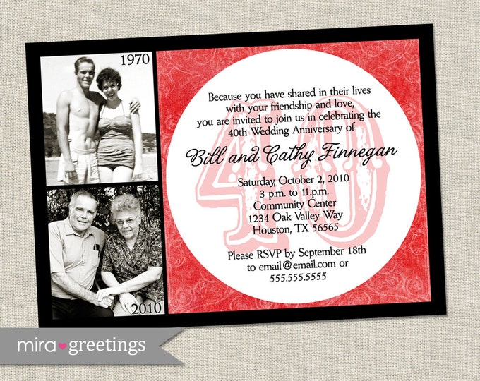 40th Anniversary Invitation - Printable Digital File