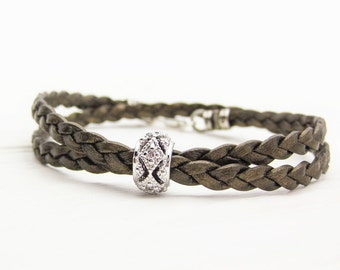 Boho Bronze Metallic Leather & Sterling Silver CZ Bangle Bracelet / Eco Friendly Fashion Golden Brown Braided Boho Stacking Bracelet