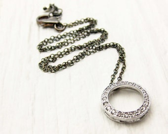 Infinite Sterling CZ Pave Necklace / Circle Pendant Oxidized Sterling Silver / Black White Bridal Grey Round Modern Wedding Simple Necklace