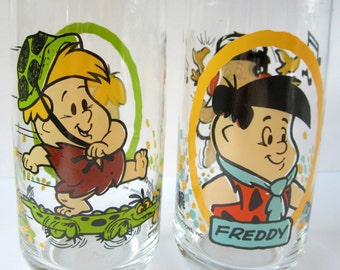FLINSTONE'S Flintstone Kids Glass Tumbler Fred Freddy Barney 1986 Pizza Hut Libbey Collectible Vintage