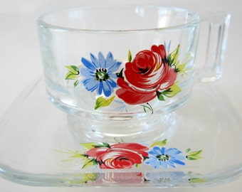 Vintage Espresso Glass Cup Floral Design Italy Demitasse Cappuccino Applied Flower Very Unique
