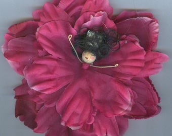 Deluxe Flower Fairy with Black Hair and Dark Pink Petals (002)