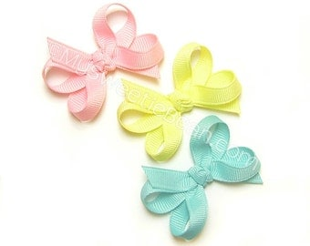 Mini Baby Bows, 2 inch Hair Bows, Set of 3 Boutique Bows, Starter Set of Bows for Baby Girls, Tiny Infant Bows, Pink, Maize, Aqua