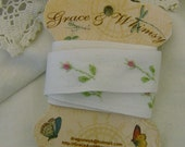 Vintage cotton tape with hand embroidered rosebuds