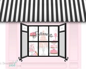 French Macaron Parisian Printable Party Backdrop Pink and Black - You print