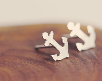 Tiny anchor post earrings - studs - sterling silver - nautical