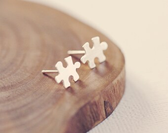 Tiny little jigsaw post earrings in sterling silver