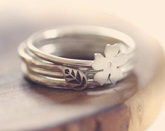 Sterling silver stacking rings -  set of 4 - hammered - cherry blossom - leaf - etsymetal team