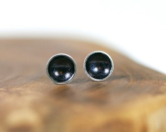 dish earrings - saucer - craters - oxidised - studs - posts