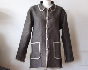 Loose linen jacket, garden jacket with pockets and slits, office linen jacket, charcoal and beige salt & pepper minimalist jacket