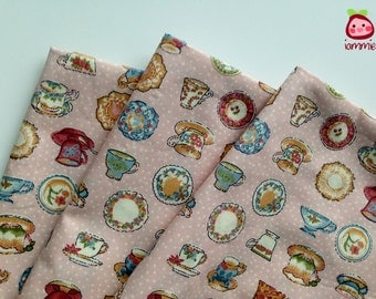 Pink, Cotton, Fabric, vintage style, alice, colorful, cup, tea, FAT QUARTER, half yard, yard, girl, children, bed, japan, kid, cute, dots