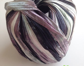 Yarn, trim, ribbon, violet, dark purple, purple, white, carneval, nylon, trim, scarf, knit, scarf, flat, decor, light, 1 skein, 54 yards