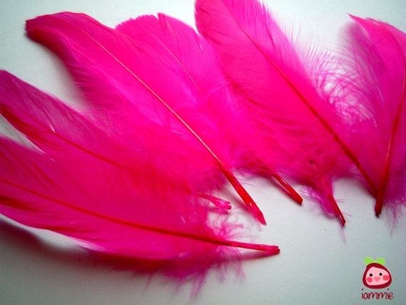 Neon Pink, bright pink, Fake Feathers, artificial feather, faux feather, fake, faux, craft supplies, bird, chicken, duck, bright color