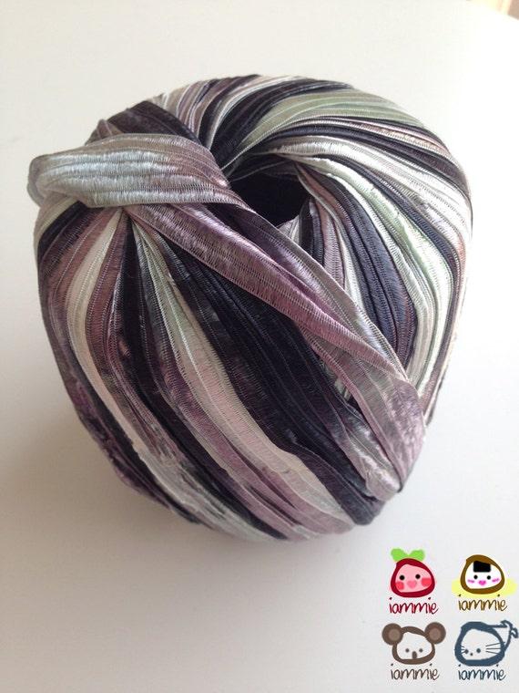 Nylon Knitting Ribbon : Yarn trim ribbon violet dark purple white