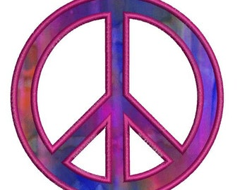 Applique Peace Sign Machine Embroidery Designs Instant Download Sale 4x4 and 5x7