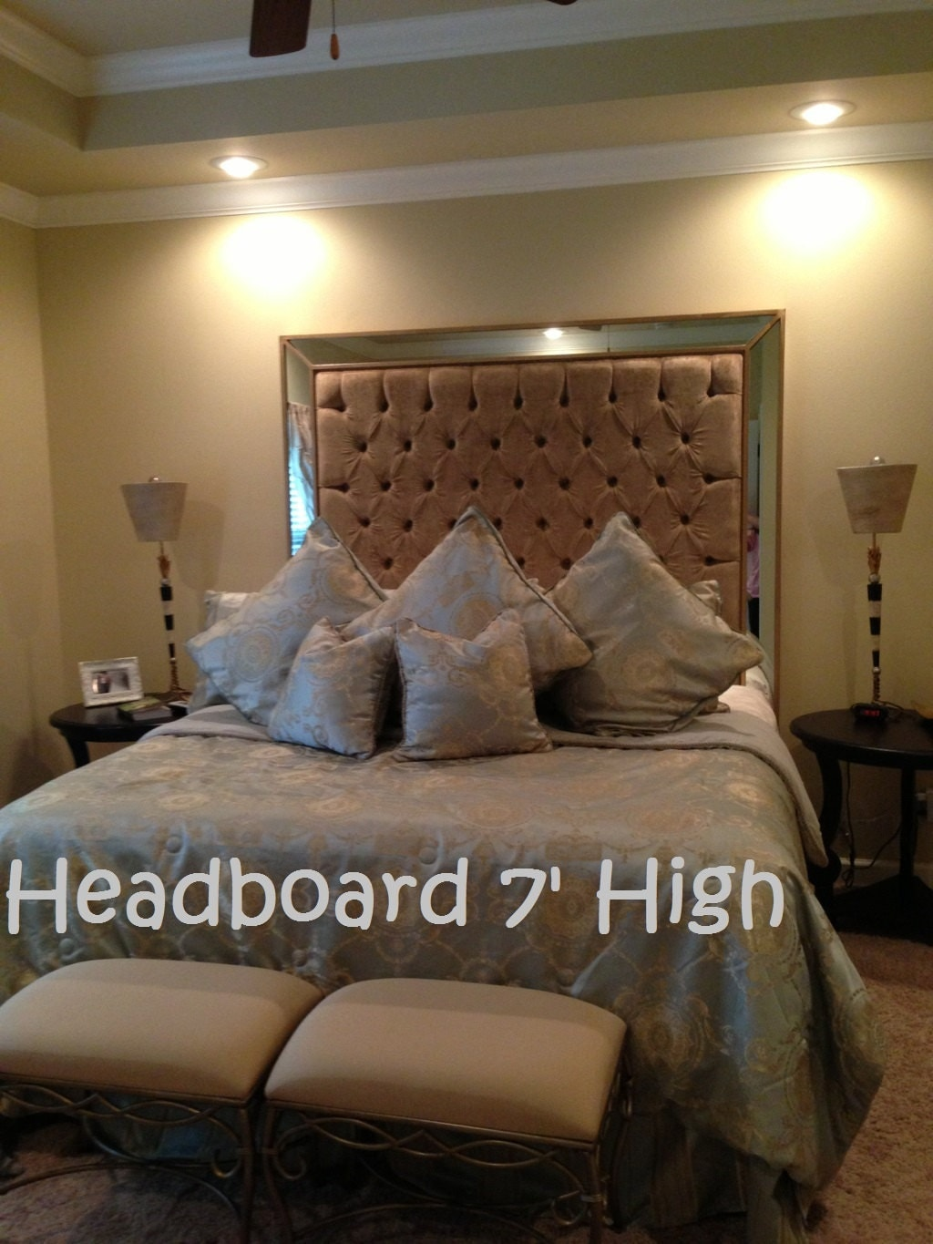 King Size Upholstered Headboard With Mirrors