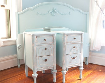 custom order pair nightstand s shabby chic antique beach cottage distressed aqua blue turquoise