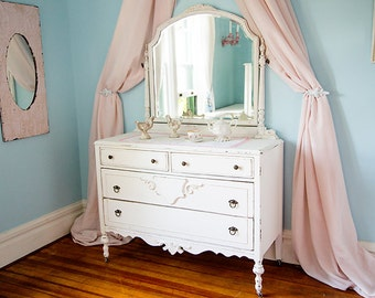 custom order dresser shabby chic white dstressed antique mirror cottage prairie vintage large