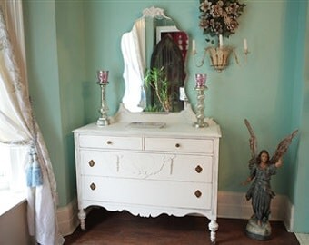 custom order Beautiful Antique Shabby Chic Dresser White Distressed Country Cottage Prairie any color