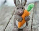 Needle Felted Bunny - Holding Carrot