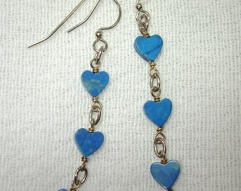 Blue Stone Heart Triplets Earrings in Silver - No Shipping Charge within the U.S.