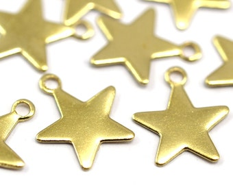Star Brass Charm, 250 Raw Brass Star Tags  (8x10mm) Brs 301 A0261