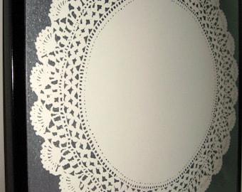 Cream Doily ..Magnet Dry Erase Steel Memo Board / housewarming / home decor / desk / office organization / friend / decorative arts /magnets