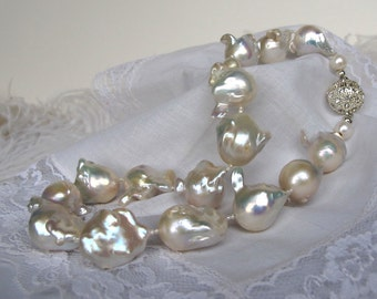 SALE,Lustrous Satin White Pearl Necklace,Large Exotic Baroque Fireball Pearl Modern Woman Pearl Necklace,Unique Bridal Statement Neckalce 28