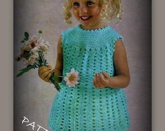 Crochet Girls Dress Pattern - Sizes 12 mo, 18 mo, 2, 4, 6, 8 - PDF 02086370 - Shell Stitch Crochet - Instant Download