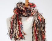 Knotted Fringe Scarf - Class Act - Shades of Black, Red, Tan and Cream