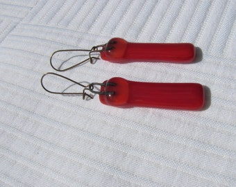 Crimson red with clear glass drop earrings
