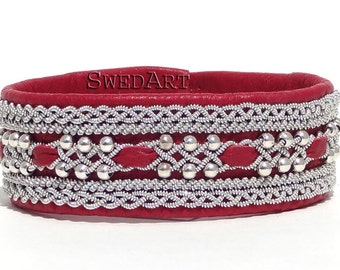SwedArt B118 Frost  Leather Bracelet in Martha Stewart Living w Sterling Silver Beads and Pewter Button, Red LARGE