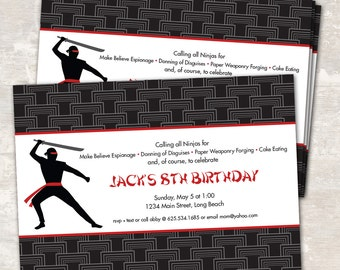 PRINT & SHIP Ninja Karate Birthday Party Invitations (set of 12) >> personalized and shipped to you <<