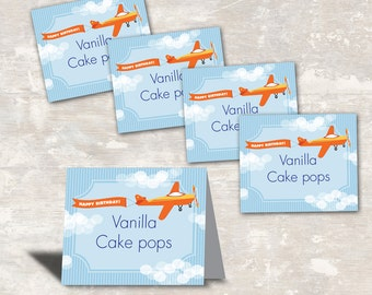 PRINT & SHIP Airplane Birthday Party Food Labels (set of 8) >> personalized and shipped to you | Paper and Cake