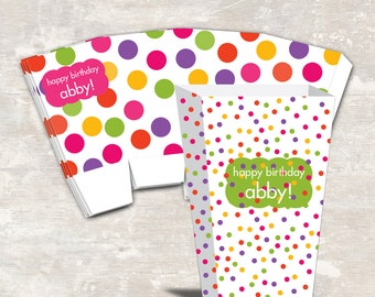 PRINT & SHIP Polka Dot Birthday Party Mini Popcorn Boxes (set of 12)